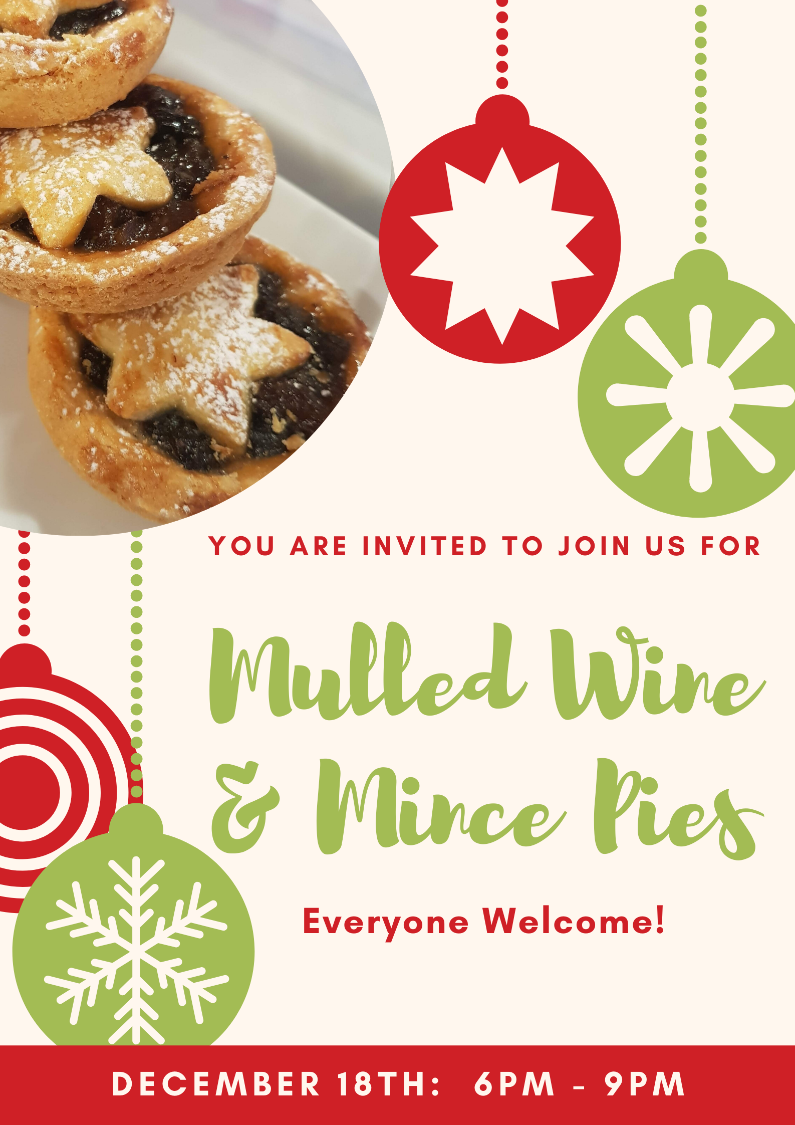 Mulled Wine & Mince Pies: Dec 18th 6-9pm